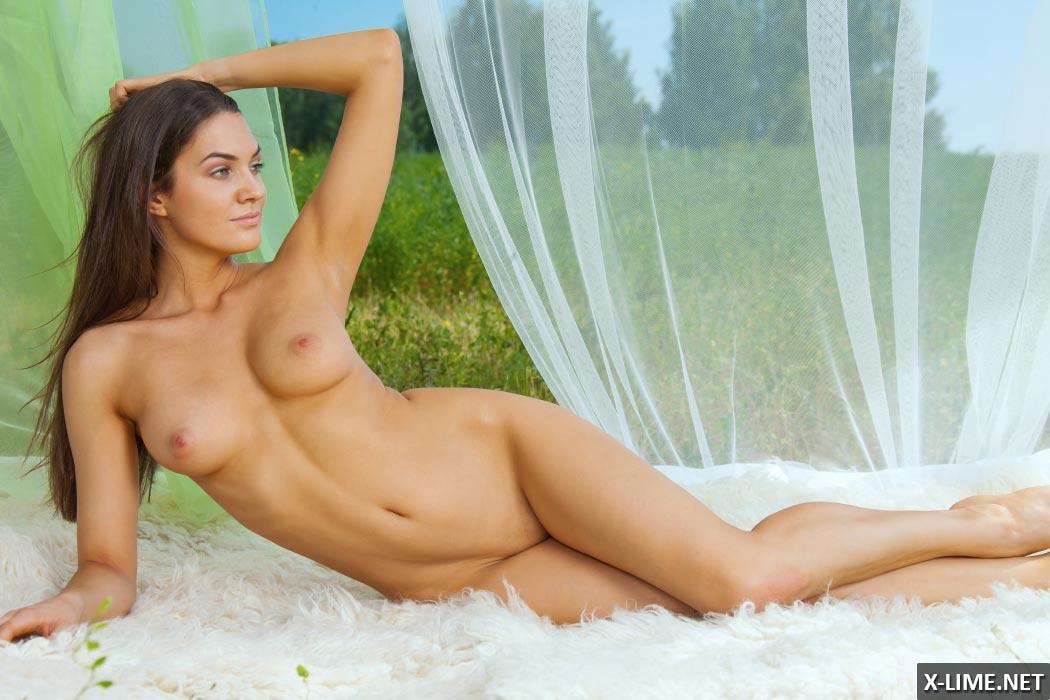 Голая девушка с большими сиськами позирует на природе