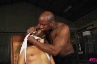 Порно Видео: Rough interracial anal gangbang